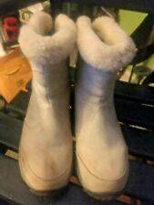 The North Face Womens SZ 8 Beige Suede Primaloft Back Zip TNF Winter Grip Boots!