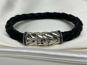 David Yurman Silver Chevron Woven Black Leather Bracelet With Pave Black Diamond