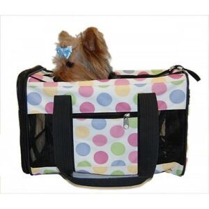 Pet Carrier Dog Cat Travel Bag Airline Approved Multi Color Dot Nylon Small