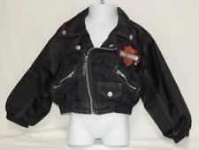 HARLEY DAVIDSON Toddler Boys Black Nylon Full Zip Biker Jacket Size 4T