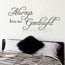 ALWAYS KISS ME GOODNIGHT Quote Letter Removable Wall Sticker DIY Home Decoration