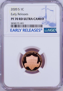 2020 S Proof LINCOLN CENT Penny NGC PF70 RD ER Blue Label Shield Side Up