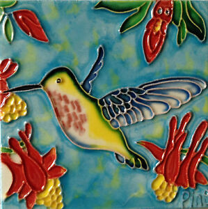 "Hummingbird Art Tile 4""x4"" Decorative Ceramic New Blue Background Flowers Red"