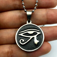 "Stainless Steel Black Egyptian Eye of Horus Pendant Ball Chain Necklace 24"""