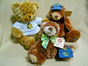 3 VIntage American Cancer Society Daffodil Days Plush Bears / 2 Boyds Carrie & H