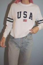Brandy Melville white cotton long sleeve crewneck Acacia USA top NWT sz S/M