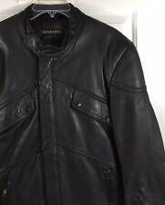 Yamaha Men's Black Leather Motorcycle Jacket Elbow Padding Side Panels Size S