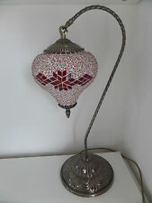 Turkish Lamp Large Moroccan Table Light LED Red Swan With Multi Coloured Glass