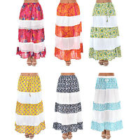 Womens Ladies Long  Boho Hippie Gypsy Summer Maxi Skirt