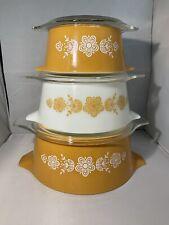 Vintage PYREX Butterfly Gold Stacking Casserole Bowl Set w/ Lids