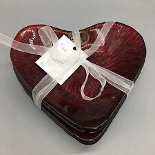 4 Akcam Red Glass Heart Appetizer Dessert Plate Dish Set Valentine Love NEW