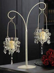 "17"" White Metal Hanging Votive Candleholder Teardrop Chandelier Acrylic Crystals"