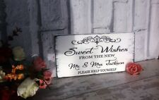 Wedding signs shabby vintage chic sweet wishes mr & mrs Table Plaque candy bar