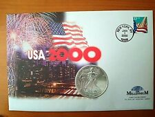 More details for 2000 us eagle silver dollar on usa millennium commemerative coin cover fdc