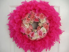 """Valentines Day Easter Feather Roses Spring It's A Baby Girl Wreath Hot Pink 21"""""""