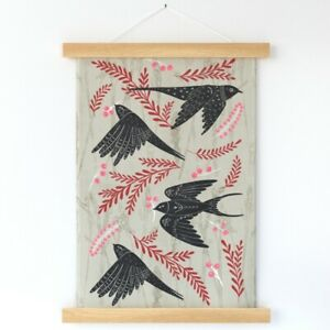 Festive Swallows Red Black Neutral Wall Hanging Print and Hanger by Spoonflower