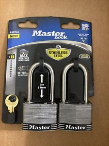 MASTER LOCK STAINLESS STEEL 2in 51mm 2 PACK WITH KEYS