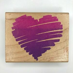 Rubber Stampede Posh Impressions Heart Sketch Wood Mounted Rubber Stamp