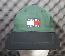 Vintage Tommy Hilfiger Jeans Logo Flag Green/Black Strapback Hat Cap Youth/Small