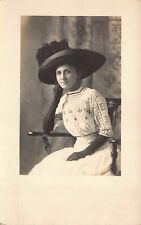 RPPC Portrait Beautiful Woman Wearing a Hat in South Bend, Indiana Studio~125779