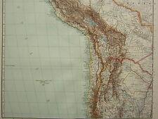 1907 DATED MAP ~ WESTERN SOUTH AMERICA ~ PERU BOLIVIA CUZCO SAN JUAN