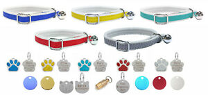 Cat / Kitten Reflective Collar With Safety Elastic, Bell & Personalised Pet Tag