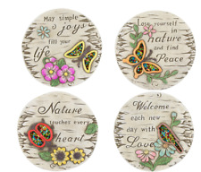 4 x MOSAIC GARDEN CONCRETE STEPPING STONE DECORATION with decorative sequins.