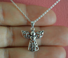 Angel Wing Cross Necklace - 925 Sterling Silver Angel Wing Heart Cross Necklace