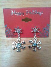 """Silvertone Snowflake Christmas earrings, posts dangle 1.5"""""""