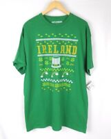 Ireland T-Shirt  Men Size XL Green Yellow 4 leaf clovers Saint Patrick's day
