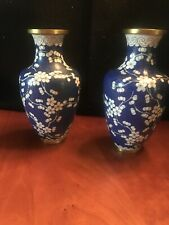 "Beautiful Pair Of Blue Cherry Blossom Cloisonne Vases 6 3/4"" High"