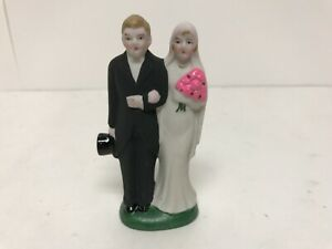 "Vintage Ceramic Wedding Cake Topper Bride & Groom 4-1/8"""