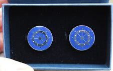 New Brooks Brothers Stainless Blue Sail Boat Steering Wheels Cuff Links