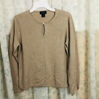 Brooks Brothers Women Merino Wool Pullover Sweater Button Neck Tan Beige XL