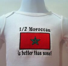 1/2 Moroccan is better than none! Morocco Flag Baby Bodysuit Embroidered