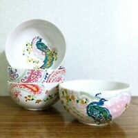 """222 FIFTH ANDALUSIA PEACOCK PAISLEY 5.75""""  SOUP CEREAL SALAD BOWLS LOT 4 NEW"""