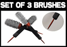 Professional Hairdressers Set Of 3 Brushes Blow dry Styling Ceramic Brushes
