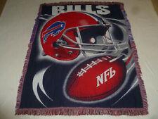 BUFFALO BILLS NFL AFGHAN BLANKET THROW  FOOTBALL TAPESTRY 56 x 43