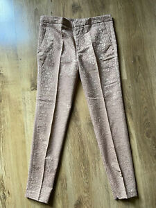Zara Woman Rose Gold Brocade Cigarette Trousers Ankle Zips  Pockets Size M 12