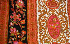 Paisley Stripes Floral Pink Gold Black Fabric Water Repellent Screen Print 4+YDS