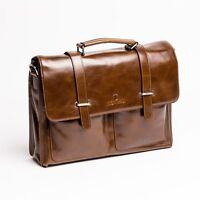MONVALI attache mens briefcase leather business laptop bag messenger brown