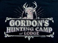 Retro Style GORDONS HUNTING CAMP AND LODGE Black T Shirt Size XL