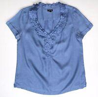 Talbots 6 Blue Chambray LINEN Blouse Ruffled Neckline Cap Sleeves PRISTINE