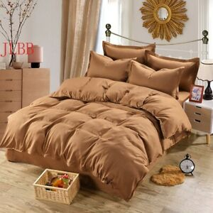 HomeTextile Coffee Bedding Set Duvet Cover 4pcs Bed Set Solid Twin Full Bedcloth