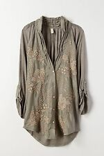 Anthropologie Tiny Taupe Embroidered Floral Cardamom Top Buttondown Blouse M