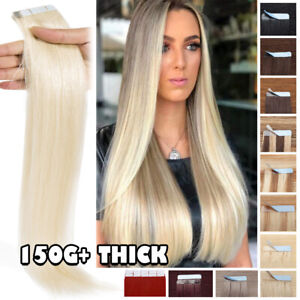 """80PCS THICK 100% Human Hair Tape In Real Remy Hair Extensions Full Skin Weft 24"""""""