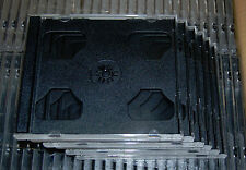 SIX (6) High Quality 10.4mm DOUBLE CD Jewel Cases w/ Black Tray, Holds 2 CDs NEW