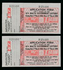 MALTA 1966 LOTTERY TICKETS 10/- UNUSED with COUNTERFOILS