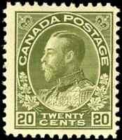 Canada #119 mint F-VF OG HHR DG 1925 King George V 20c olive green Admiral