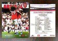 Arsenal v Aston Villa Premier Leag Programme + Team Sheet 2019 September 22/9/19